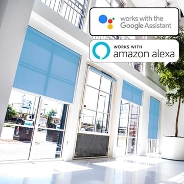 Elektrisch Somfy rolgordijn Alexa / Google Home - Semi-transparante stof
