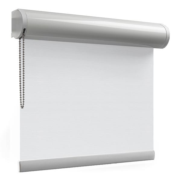 Afbeelding van Rolgordijn brede ramen Cassette rond - Verkeerswit met fijne streep Transparant