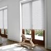 Afbeelding van Rolgordijn brede ramen Cassette rond - Glans wit gemeleerd Transparant