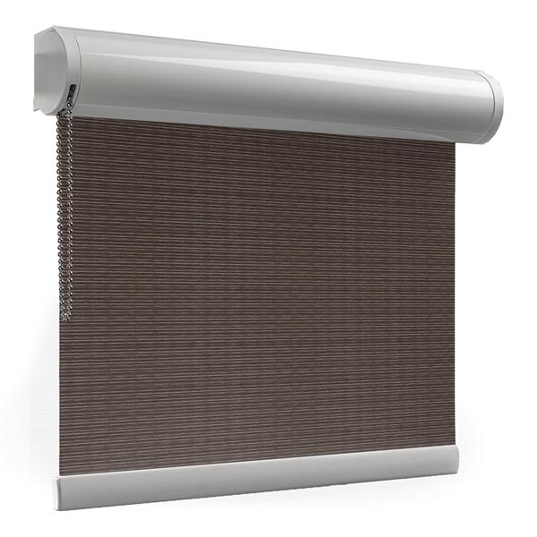 Afbeelding van Rolgordijn brede ramen Cassette rond - Luxe bruin rood Transparant