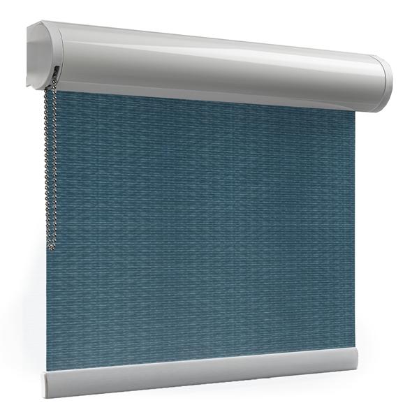 Afbeelding van Rolgordijn brede ramen Cassette rond - Luxe zeeblauw Transparant
