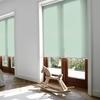Afbeelding van Rolgordijn brede ramen Cassette rond - Lichtblauw turquoise Transparant