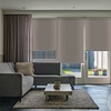 Afbeelding van Rolgordijn op maat Zijsteunen - Luxe beige bruin  ribbel Verduisterend