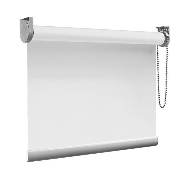 Afbeelding van Rolgordijn op maat Zijsteunen - Glimmend wit Verduisterend