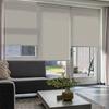 Afbeelding van Rolgordijn op maat Montagesteunen - Creme bruin ribbel met streep Semi transparant