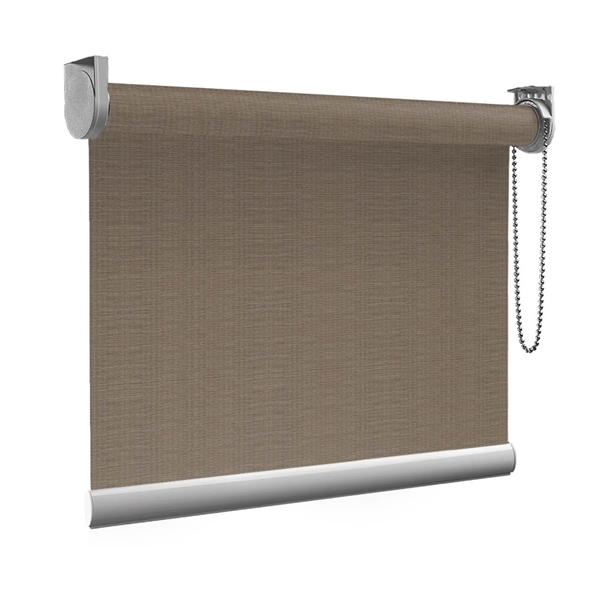 Afbeelding van Rolgordijn op maat Montagesteunen - Luxe ribbel bruin Semi transparant