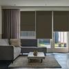 Afbeelding van Rolgordijn op maat Montagesteunen - Gemeleerd bruin geweven Semi transparant