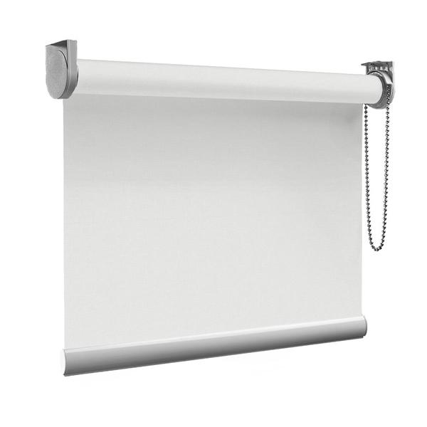 Afbeelding van Rolgordijn op maat Montagesteunen - Wit grijs Semi transparant