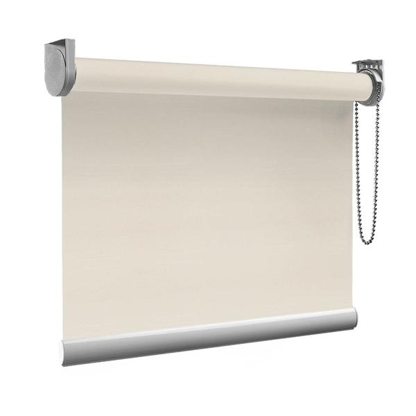 Afbeelding van XL Rolgordijn op maat Zijsteunen - Glimmend off white Verduisterend