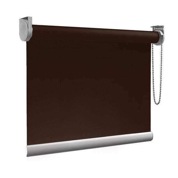 Afbeelding van XL Rolgordijn op maat Zijsteunen - Bruin espresso Verduisterend