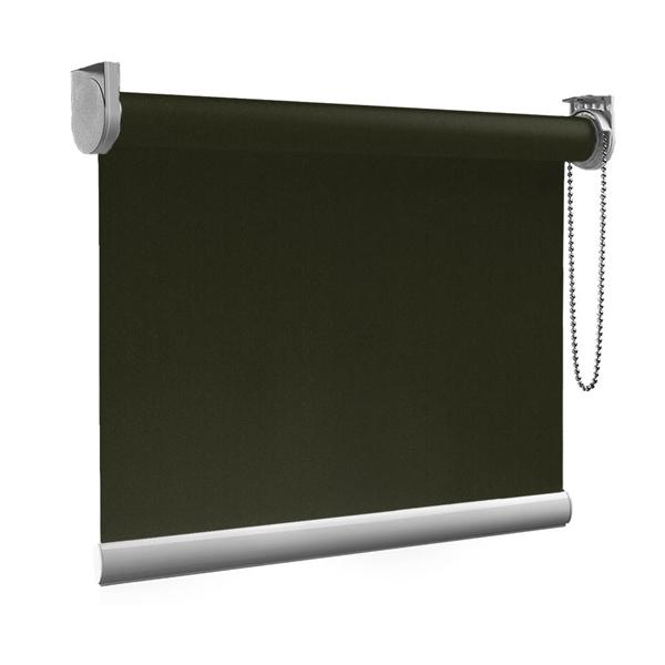 Afbeelding van XL Rolgordijn op maat Zijsteunen - Donkergroen luxe Verduisterend