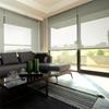 Afbeelding van Rolgordijn op maat Brede ramen - Glans bruingrijs met streep Transparant