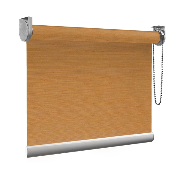 Afbeelding van Rolgordijn op maat Brede ramen - Glans oranje brons met streep Transparant