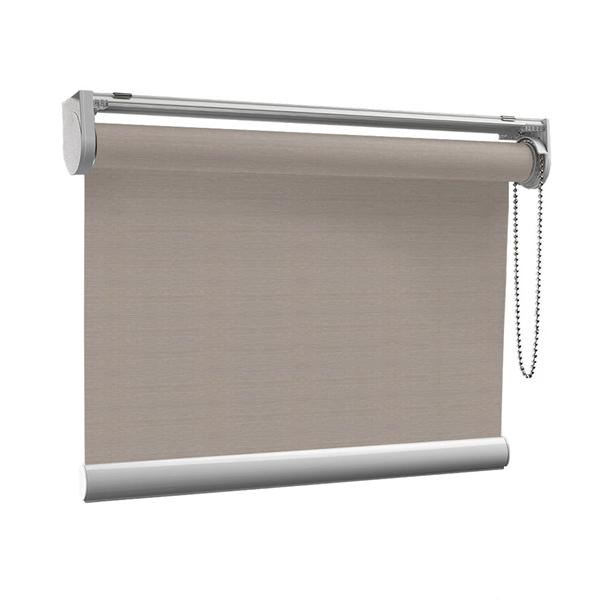 Afbeelding van Rolgordijn op maat met Kliksysteem - Grijs met bruin Semi transparant