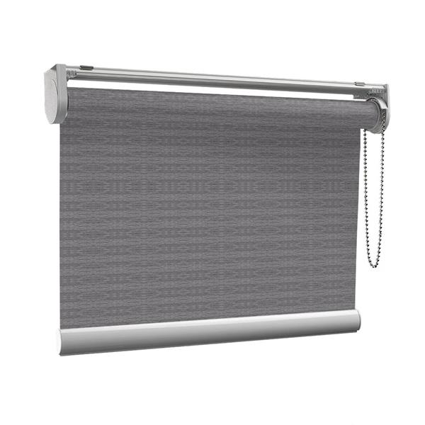 Afbeelding van Rolgordijn op maat met Kliksysteem - Grijsbruin gemeleerd Semi transparant