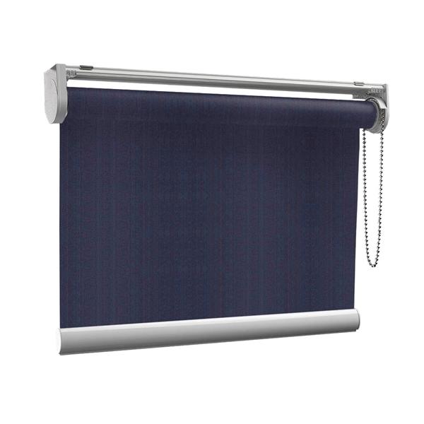 Afbeelding van Rolgordijn op maat met Kliksysteem - Donker blauw verticaal gemeleerd Semi transparant