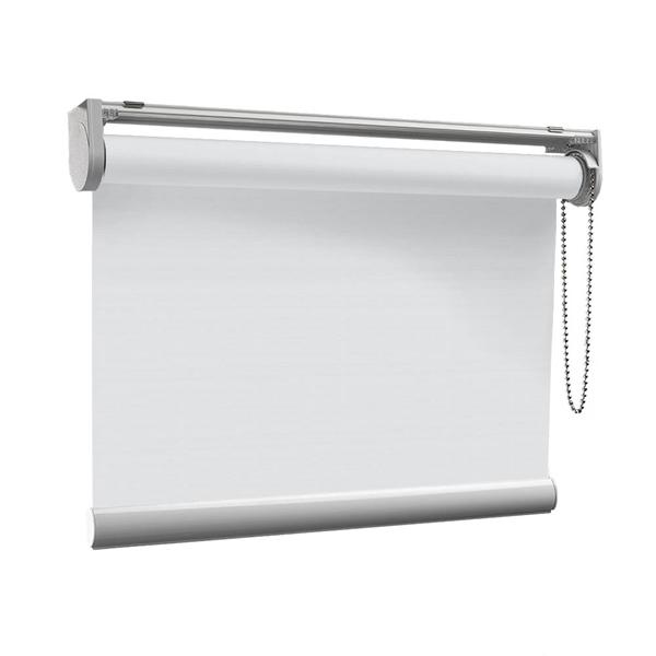 Afbeelding van Rolgordijn op maat Klik-en-klaar - Verkeerswit met fijne streep Transparant